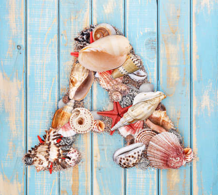 Letter A made of seashell on blue wooden background photo