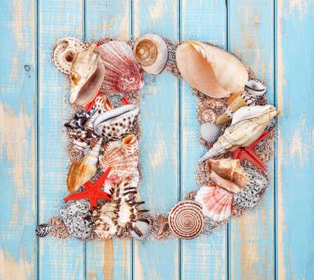 letter d: Letter D made of seashell on blue wooden background