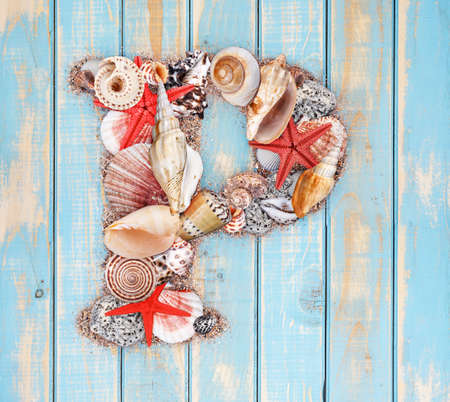 Letter P made of seashell on blue wooden background photo