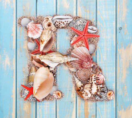 Letter R made of seashell on blue wooden background photo