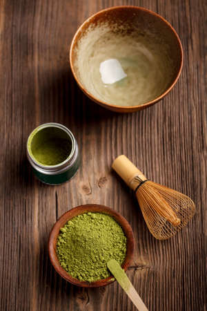 green drink powder: Japanese tea ceremony image with matcha