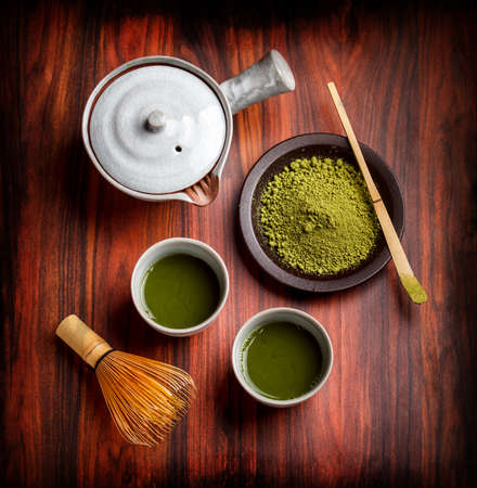 Japanese traditional tea set with powdered green tea