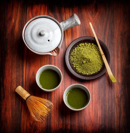 Toz yeşil çay ile geleneksel Japon çay seti Stok Fotoğraf
