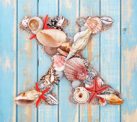 Letter X made of seashell on blue wooden background photo