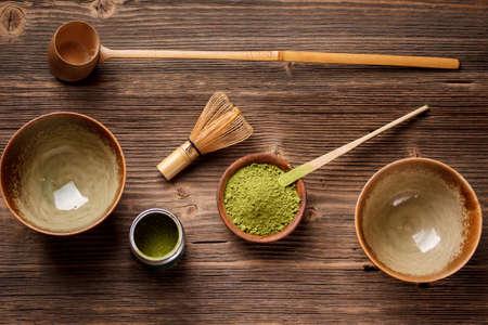 Stellen Sie für die Herstellung von Matcha Tee Standard-Bild