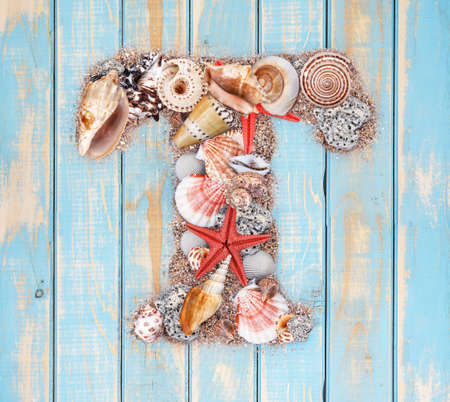 Letter T made of seashell on blue wooden background photo