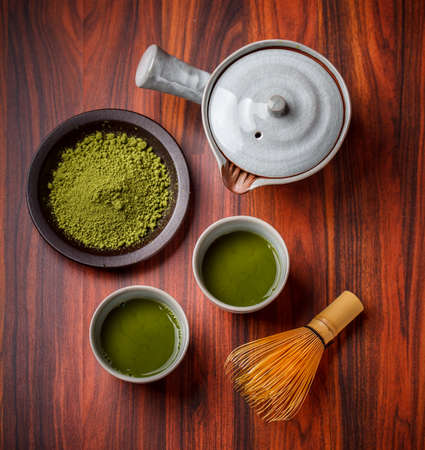 green drink powder: Top view of matcha tea Stock Photo