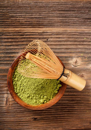 maccha: Matcha, dried powder green tea of japanese traditional beverage  Stock Photo
