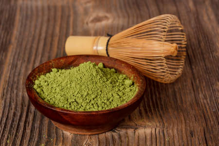green drink powder: Green powder tea with bamboo whisk