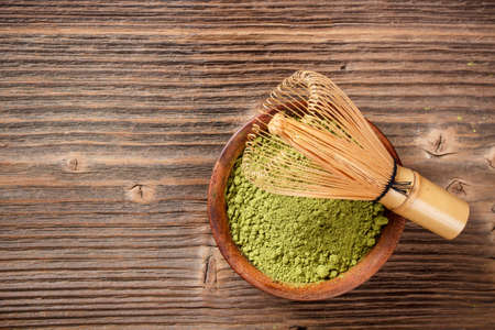 matcha: Matcha, dried powder green tea with space for text