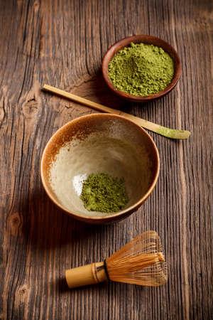 maccha: Japanese tea ceremony setting on old wooden board