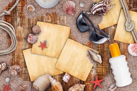 necessities: Summer necessities on old wooden background