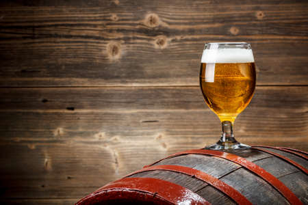 beer barrel: Beer barrel with beer glass