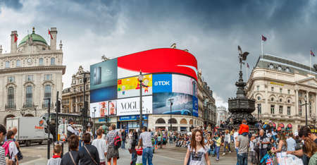 piccadilly: People visit Piccadilly Circus on August 13, 2014 in London.