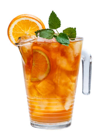 Carafe of iced tea on white background