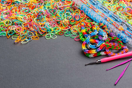 Rubber loom bands used to produce colourful wrist bands photo