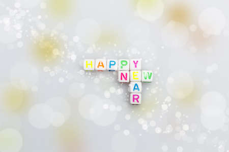 acryl: Happy New Year written with acryl letter of different colors Stock Photo