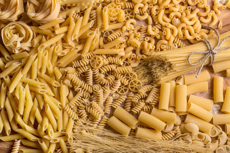 pasta: Variety of types and shapes of dry pasta