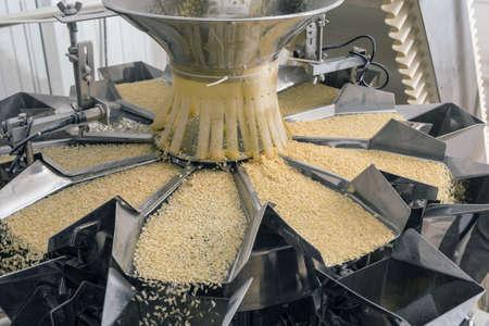 Automated food factory make fresh pasta 스톡 콘텐츠