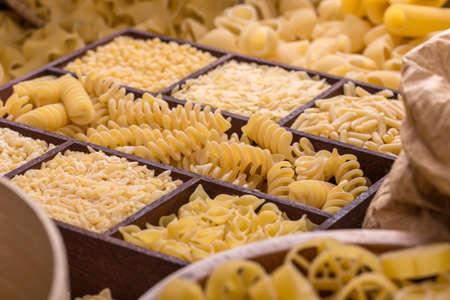 Assortment of italian pasta, pasta concept Stock Photo