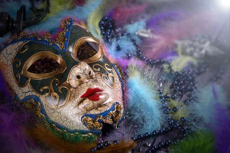 secretly: Carnival mask on vivid feathers