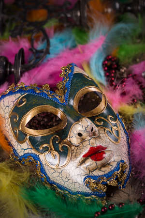 carnivale: Carnival mask, feather and beads for party