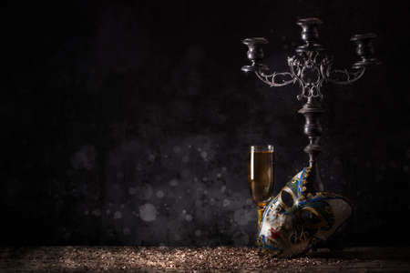 masquerade mask: Female carnival mask with glass of champagne