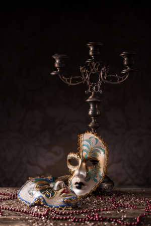 carnivale: Carnival mask with candlestick and necklace