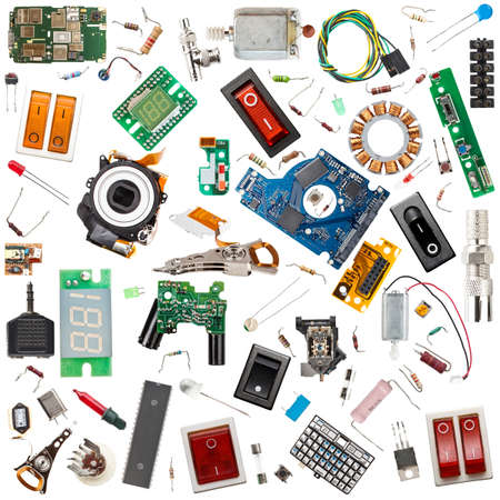 capacitor: Collection of electronic components isolated in white