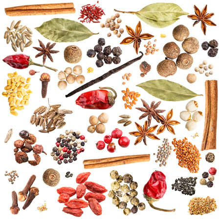 spices: Spice collection isolated on white background