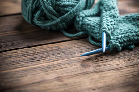 Knitting and red knitting needle