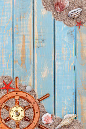 Summer frame on vintage shabby wooden surface Stock Photo