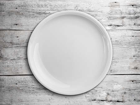 Top view of white empty plate