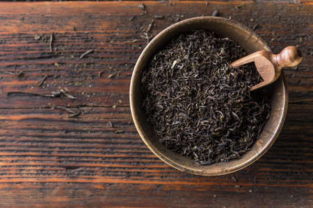 Top view of dried black tea