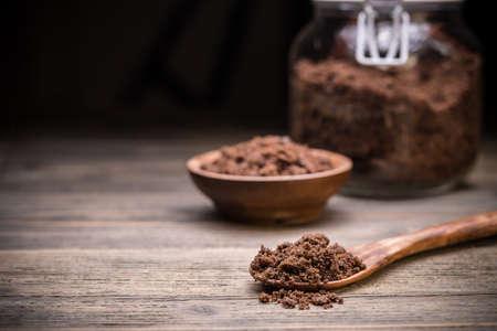 unrefined: Natural unrefined dark brown muscovado sugar Stock Photo