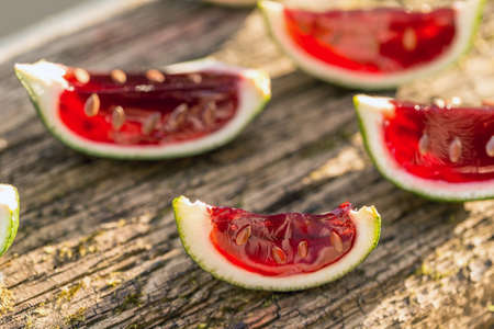 jello: Strawberry jello in lime peel