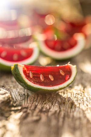 jello: Strawberry jello served in lime shells Stock Photo