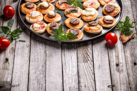 mini pizza: Homemade mini pizza with space for your text