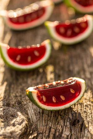 peel: Watermelon jelly in lime peel