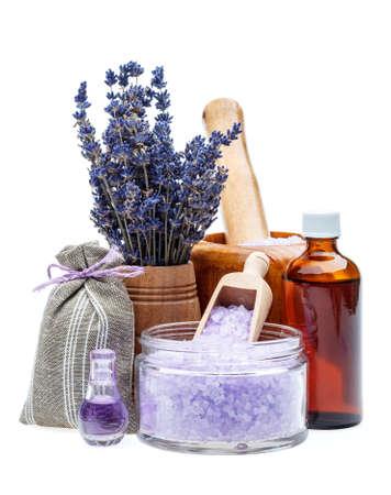 lavanda: Aceite esencial de lavanda y sal de ba�o