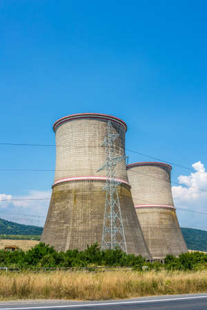 coal fired: Coal fired power station with cooling towers