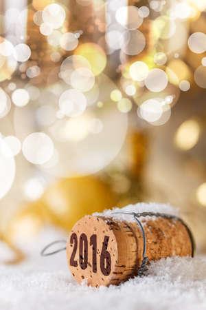 新年的概念,香檳瓶塞新的一年的2016年 版權商用圖片