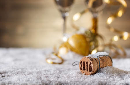 seasons of the year: New Year concept with champagne cork