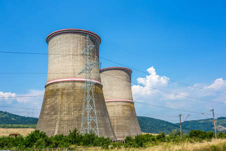 cooling towers: Coal fired power station with cooling towers