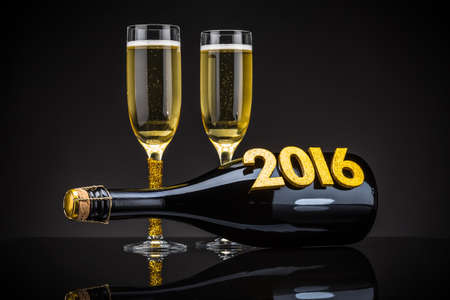 2 YEARS: Two elegant champagne glasses with bottle