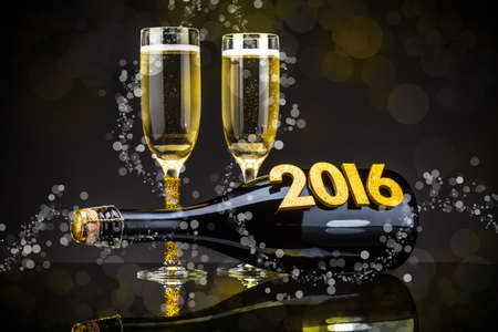 new years eve: Glasses of champagne and bottle with festive background Stock Photo