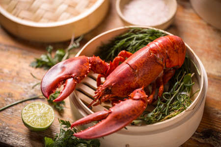 lobster dinner: Steamed lobster in bamboo steamer