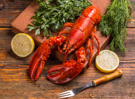 lobster dinner: Freshly cooked lobsters with lemon and herbs