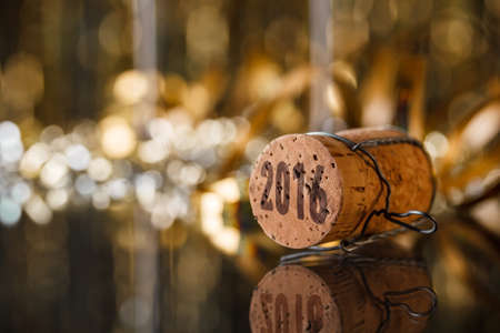 year s: Champagne cork new years 2016 concept