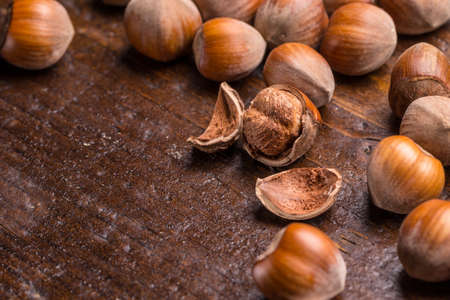 cobnut: Hazelnuts on wooden background with space for your text Stock Photo